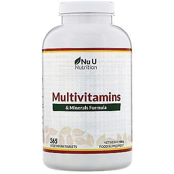 Nu U Nutrition, Multivitamins & Minerals Formula, 365 Vegetarian Tablets