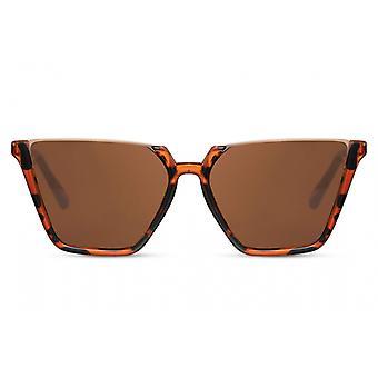 النظارات الشمسية السيدات نصف مبطنة القط. 3 بني داكن/ بني