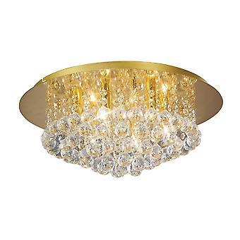 Inspireret Deco - Dahlia - Flush Loft, 450mm Runde, 6 Light G9 Crystal fransk guld