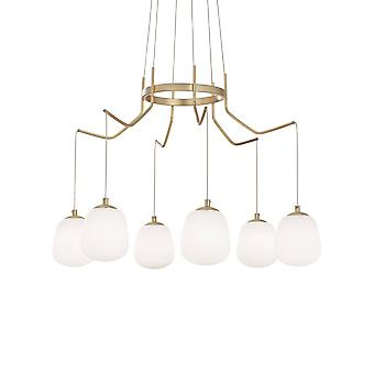 6 Light Cluster Ceiling Pendant Brass Sat