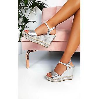 IKRUSH Womens Zendaya Embellished Metallic Wedged Heel