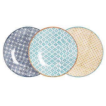 Nicola Spring 6 Piece Hand-Printed Side Plate Set - Japanese Style Porcelain Dessert Bread Plates - 3 Colours - 18cm