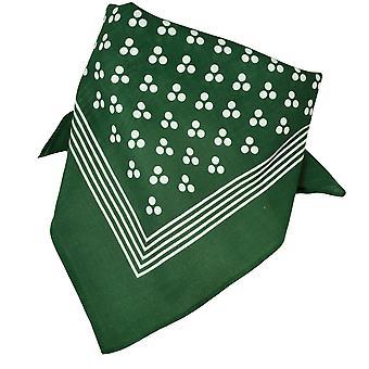 Krawatten Planet grün mit weißen 3-Punkt & Streifen Bandana Neckerchief