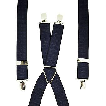 Krawaty Planet Navy Blue & Royal Blue Polka Dot Męskie spodnie szelki