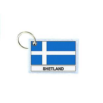 Porte cles cle clefs imprime double face drapeau royaume uni shetland