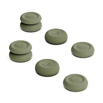 Skull & Co. 6 Thumb Grips for PlayStation 4 and 5 - Anti-Slip Controller Caps PS4 / PS5 - Khaki