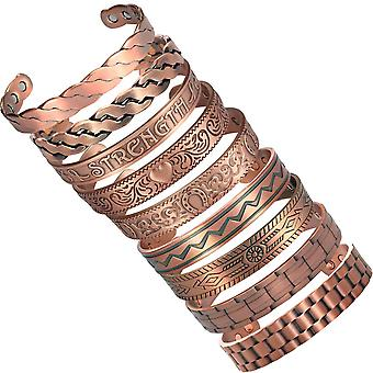 MPS Pure Copper Magnetic Bracelet Arthritis Pain Relief Health Magnet Therapy ADAHAA Wristband for Men and Women