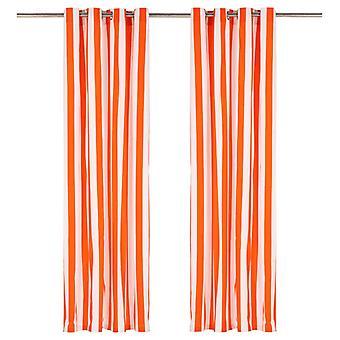 vidaXL rideaux avec des œillets en métal 2 pcs tissu 140x225cm bandes orange