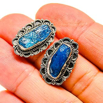"""Blue Fluorite Earrings 7/8"""" (925 Sterling Silver)  - Handmade Boho Vintage Jewelry EARR407990"""