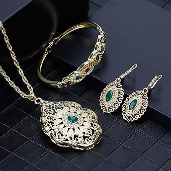 Arabic Necklace, Earring, Cuff Bracele,t Women Ethnic Wedding Jewelry Sets