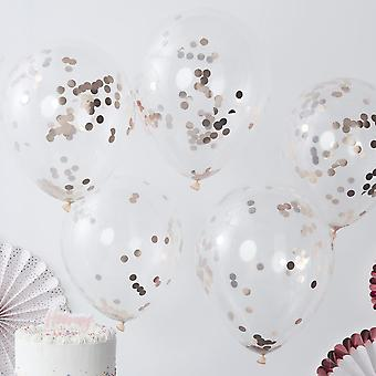 Rose Gold CONFETTI BALLOONS Party Balloons Decoration x 5