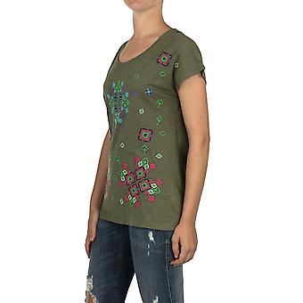 Custo Barcelona Women T-shirt Toon Caki Multicolor