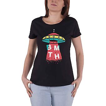 Bring Me The Horizon T Shirt UFO band logo new Official Womens Skinny Fit Black