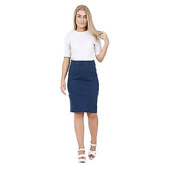 Knee length darkwash denim pencil skirt skirt