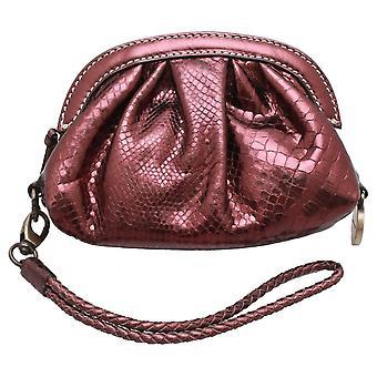 Francesco Biasia Metallic Purse Style Clutch Handbag With Wrist Strap