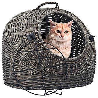 vidaXL Cat Transport Basket Grey 45×35×35 cm Natural willow