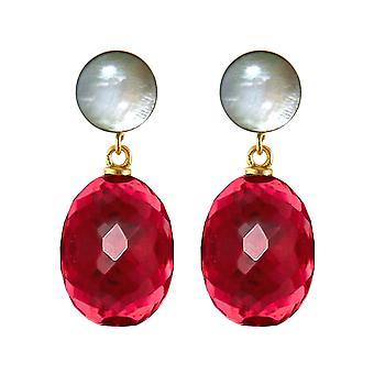 Gemshine boucles d'oreilles ovales de quartz rouge et de la pierre de lune cabochons. 925 Argent plaqué or