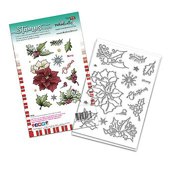 Polkadoodles Merry Christmas Poinsettia Clear Stamps