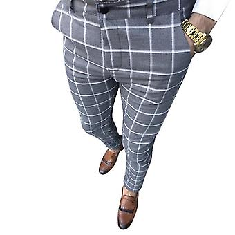 Men Vintage Plaid Suit Pants Formal Dress Pant, Business Casual Slim Pantalon