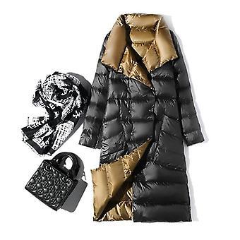 Women Double Sided Down Long Jacket, Winter Turtleneck, Duck Down Coat, Double