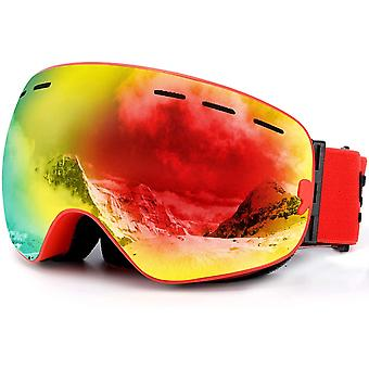 SPOSUNE Ski Goggles Skiing Goggles Over Glasses with Anti-Fog Spherical Dual Interchangable Lens