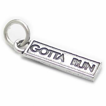 Gotta Run Sterling Silver Charm .925 X 1 Runners And Marathon Charms - 3899