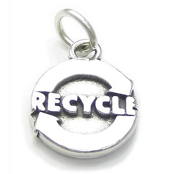 Recycle Sterling Silver Charm .925 X 1 Recycling Re-cycle Charms - 4034