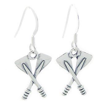 Gekruiste Oars Sterling Silver Oorbellen .925 X 1 Pair Roeien Drops