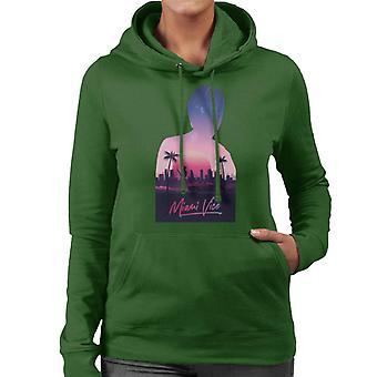Miami Vice Sunset City Silhouette Women's Hooded Sweatshirt