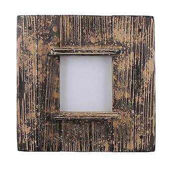 Square Wooden Frame With Weathered Details, Brown