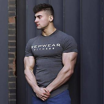Summer Men Gym Fitness Îmbrăcăminte Sport T-shirt