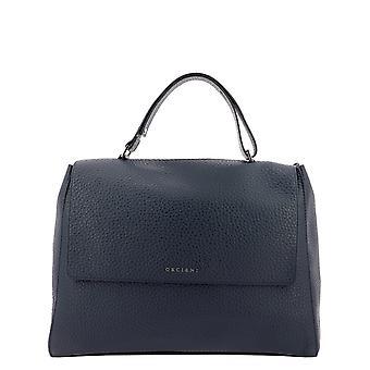 Orciani Bt1979softnavy Women's Blue Leather Shoulder Bag