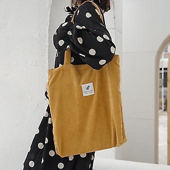 Corduroy Shopping Bag, Canvas Cloth Shoulder, Storage Handbag