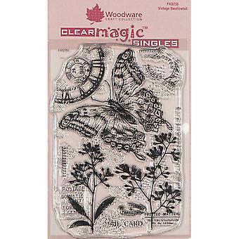 الأخشاب واضحة الفردي خمر Swallowtail 4 في × 6 في ختم