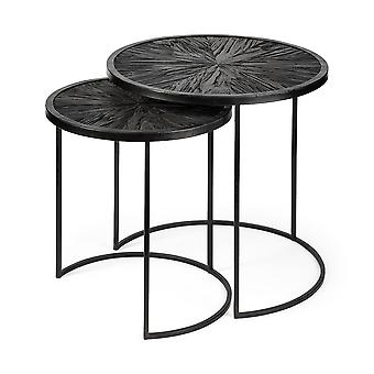 Set of 2 Dark Wood Round Top Accent Tables with Black Iron Frame