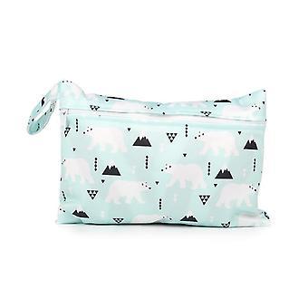 Baby Diaper Bag Printed Waterproof Wet Dry Nappy Zipper Handbag Stroller Carry