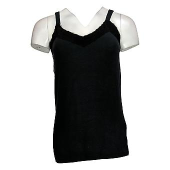 Colleen Lopez Women's Top Knit Tank With Lace Detail Black 733106