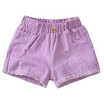 בנות כותנה ג'ינס ג'ינס מכנסיים קצרים, מכנסיים רכים דקים