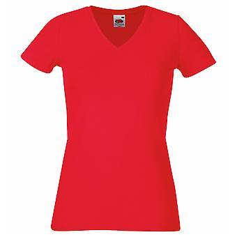 Frucht des Webstuhls Damen/Damen Lady-Fit v-neck Kurzarm T-Shirt