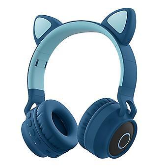 Faddish opiskelija söpö kissan korvat päähän kiinnitettävä kuulokkeet ei lanka sarjakuva bt peli veloitettava