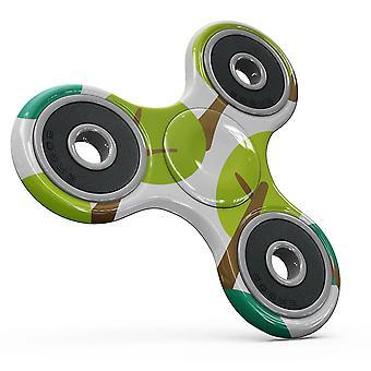 Bright Shades Of Green Cartoon Trees Full-body Fidget Spinner Skin-kit