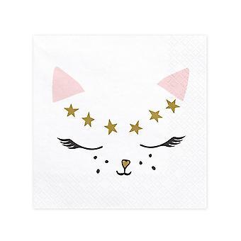20 Serviettes en papier chaton blanc 33 x 33 cm