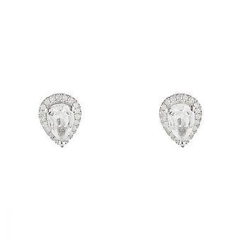 Witte gouden oorbellen 375 diamanten en witte Topaz