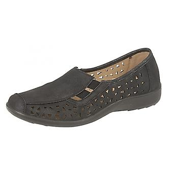 Boulevard Marsha Ladies Cut-out Slip-on Shoes Black