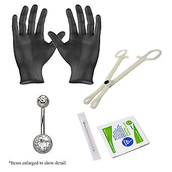5-Piece belly navel piercing kit - 14ga belly piercing jewelry, gloves, clamp