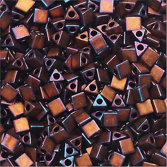 Miyuki, Perline triangolari affilate 8/0, 7,2 grammi, lampone scuro metallico opaco
