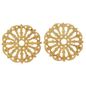Vintaj Vogue Utsmyckningar, Filigree Medaljong 17,5mm, 2 stycken, Raw Brass