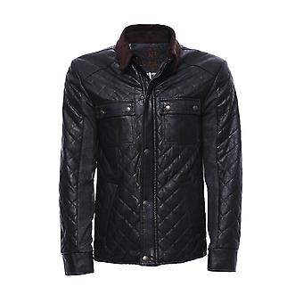 Back cachet quilted leather coat