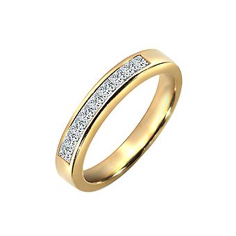 Jewelco London Ladies Solid 18ct Yellow Gold Channel Set Princess G VS 0.5ct Diamond Dainty Band Eternity Ring 3mm
