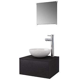 vidaXL 4 kpl. Kylpyhuoneen huonekalut, joissa on pesuallas ja hana Musta